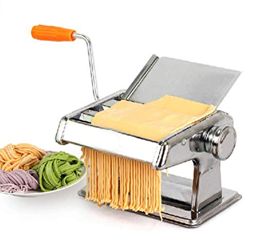 Manual Pasta Maker Machine Stainless Steel Pasta Making Machine met 2 Blades Dough Roller voor spaghetti en lasagne Tagliatelle Fettuccine,Silver